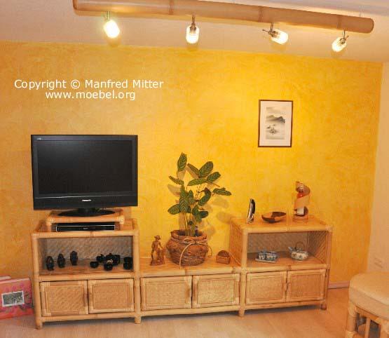 Wohnzimmermöbel aus Bambus! Wohnwand mit TV-Bereich
