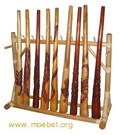 Didgeridoos Holz, mit Schnitzerei