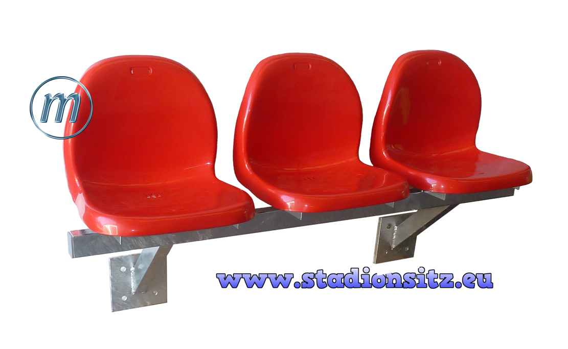 Stadium bench seat, bucket seats on crossbar
