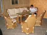 Sitzgruppen, Wohnzimmermöbel aus Bambus; Sessel